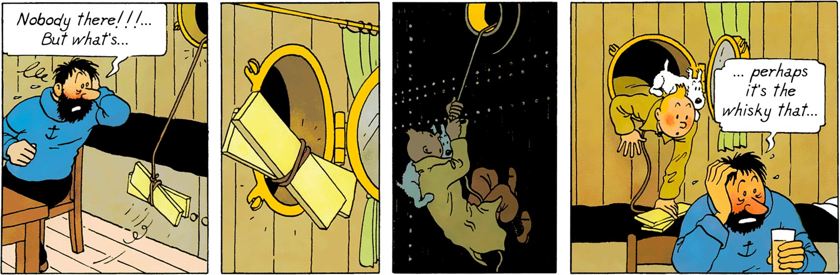 Tintin meets Haddock in the The Crab with the Golden Claws