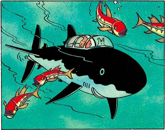 Tintin haaienduikboot