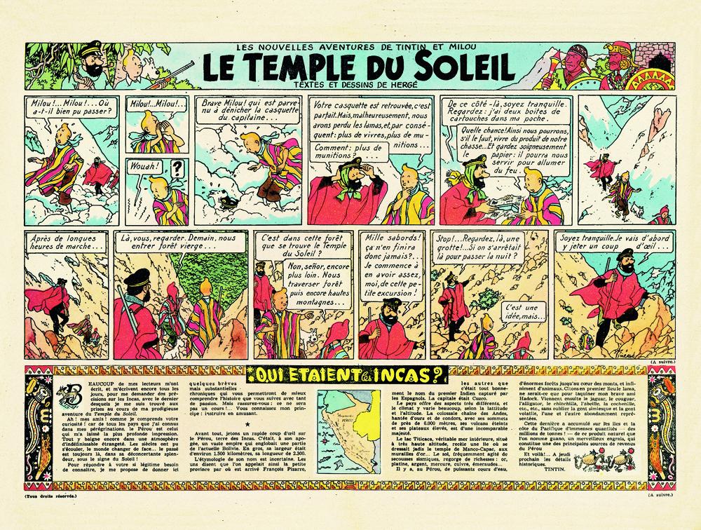 Page du Temple du Soleil dans le Journal Tintin