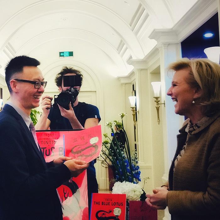 La Princesse Astrid de Belgique rencontre Tintin à Shanghai
