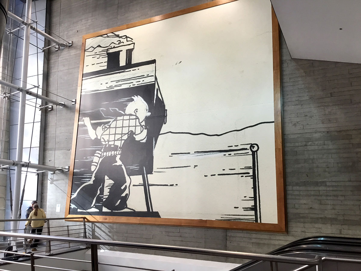 Photo of the Tintin's fresco at Brussels-South station
