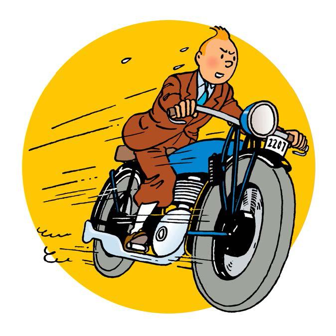 Tintin à moto