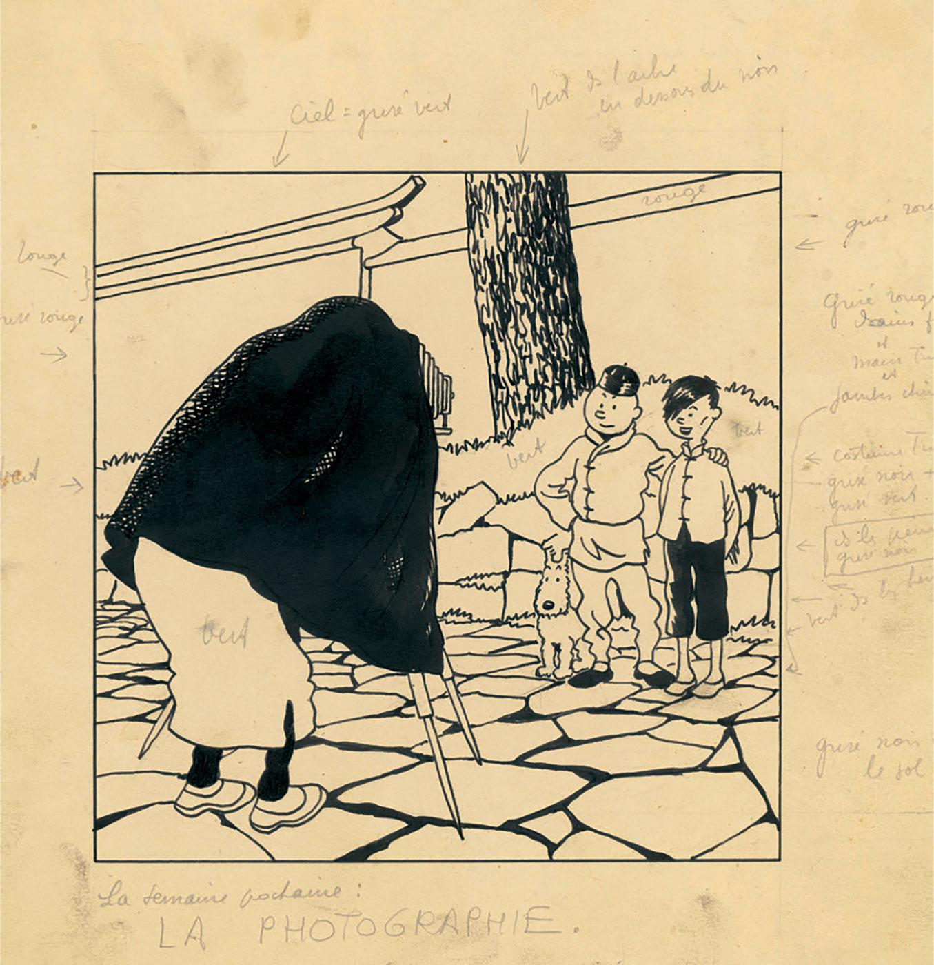 "Tintin and Tchang ""La photographie"""
