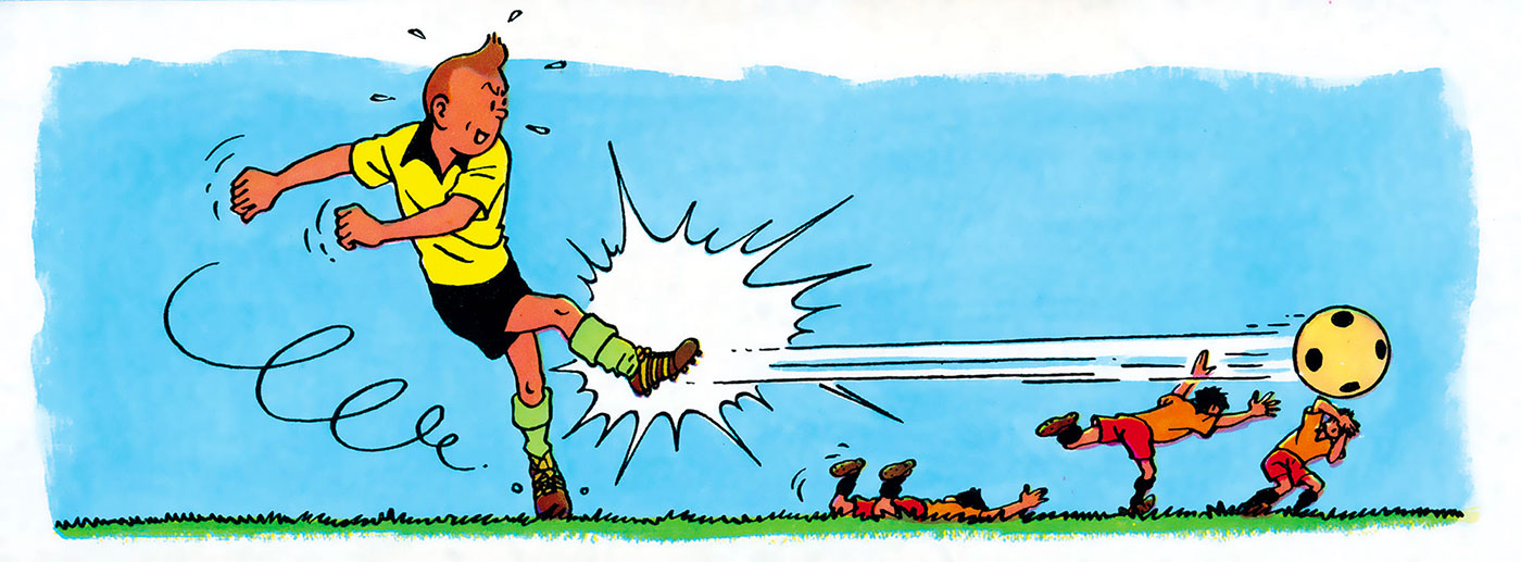 Tintin joue au football