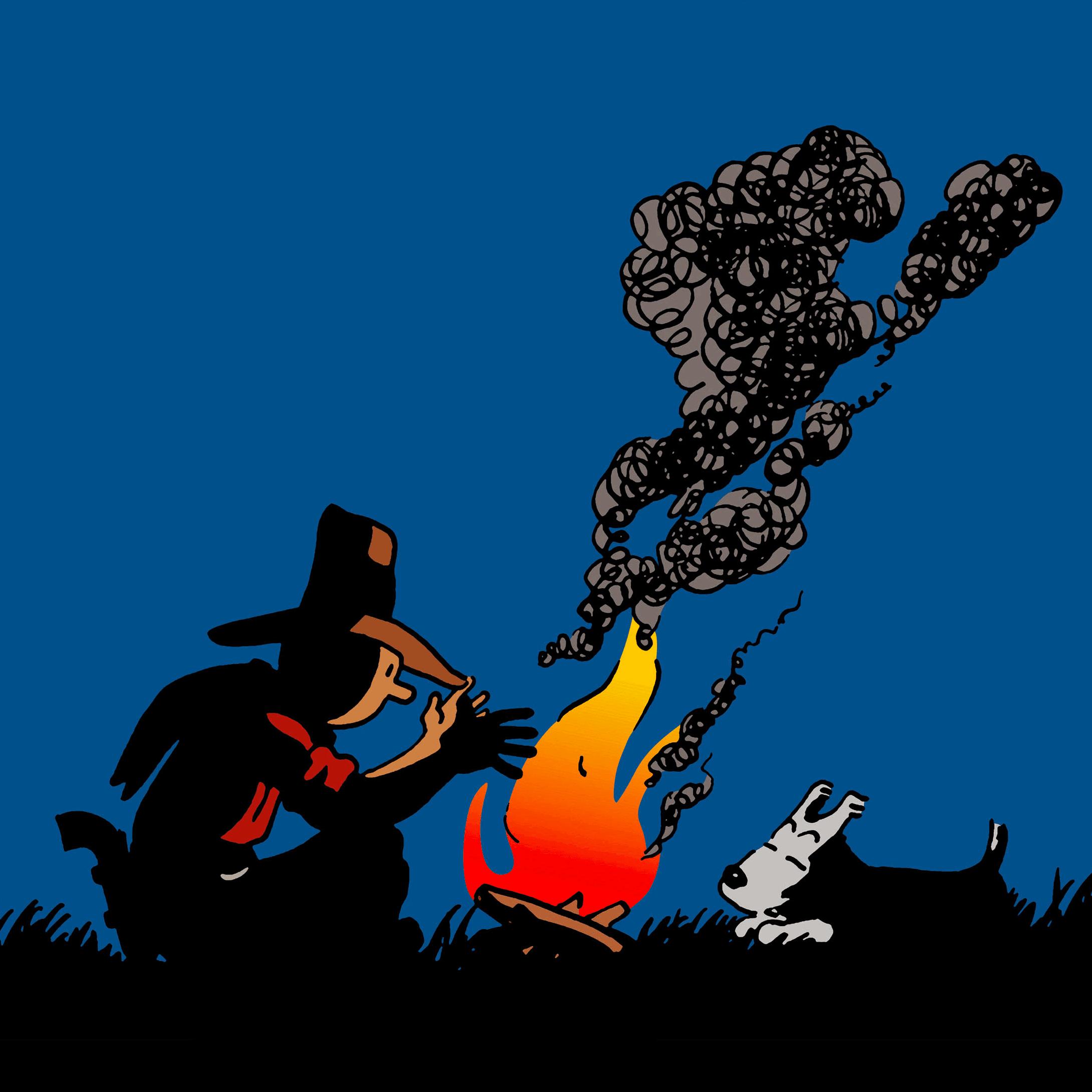 Tintin en Amérique colorisée - Tintin et Milou feu de bois