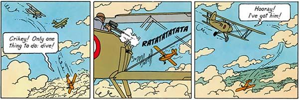 Cigars of the Pharaoh Tintin's crash