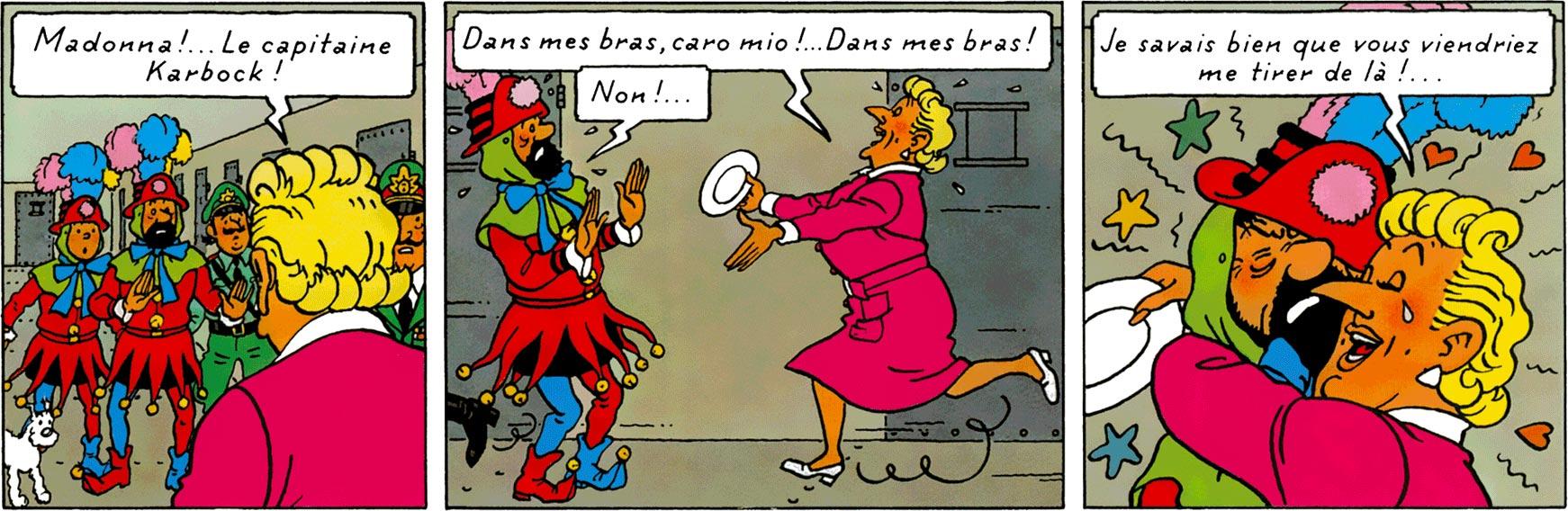 La Castafiore saute sur Haddock dans Tintin et les Picaros