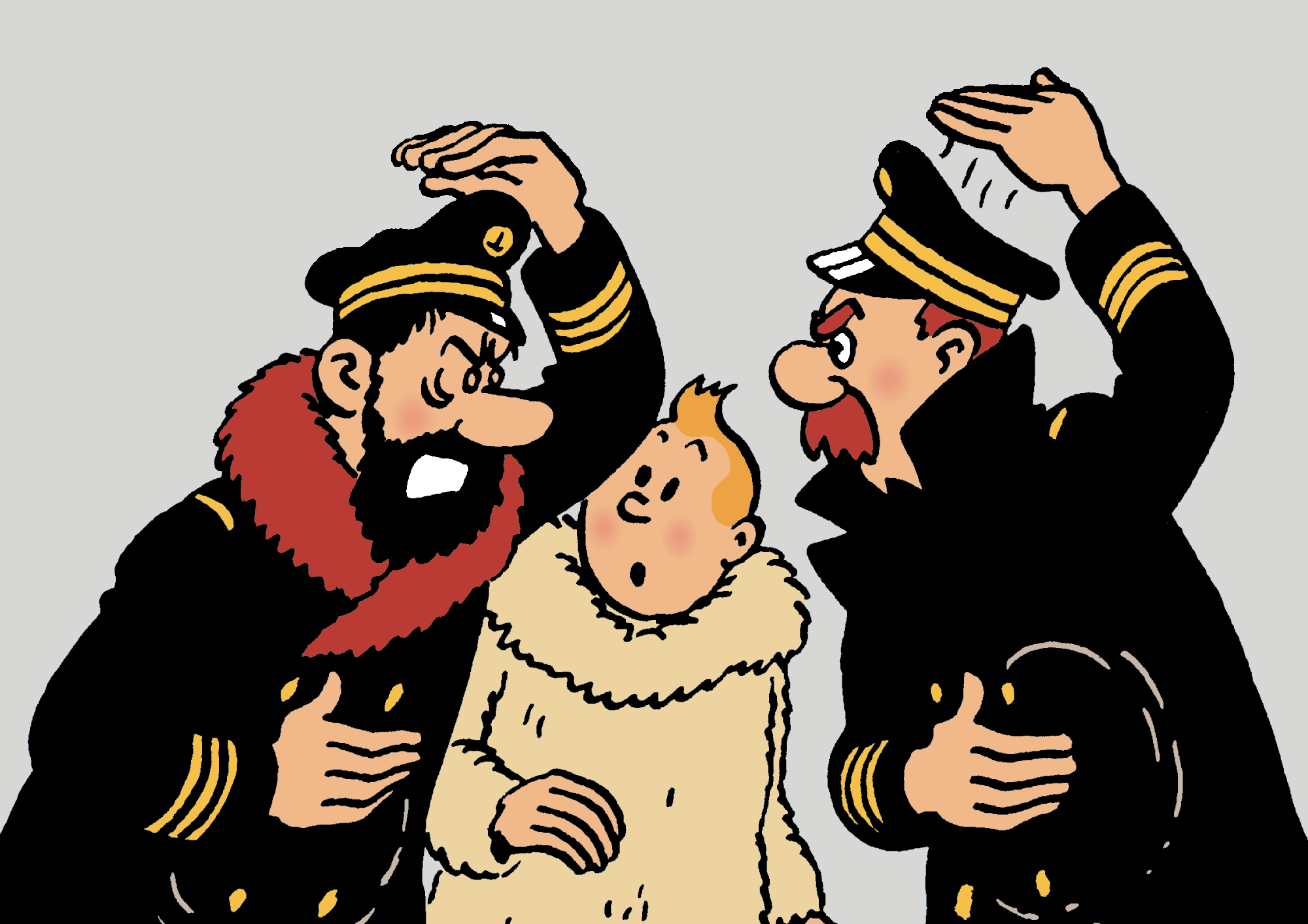 Captain Haddock, Tintin and Captain Chester
