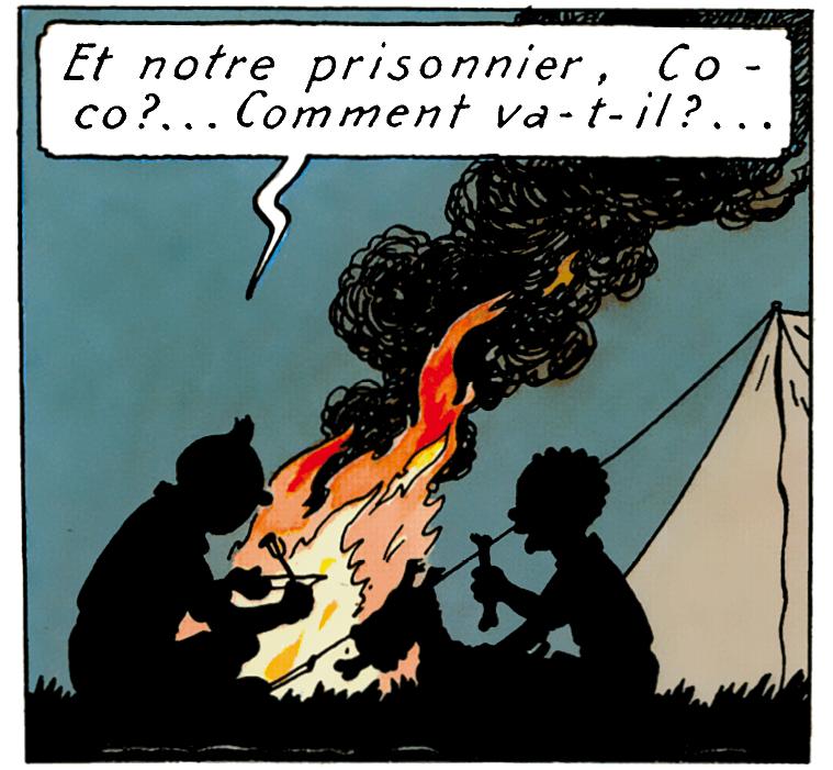 Tintin et Coco autour du feu