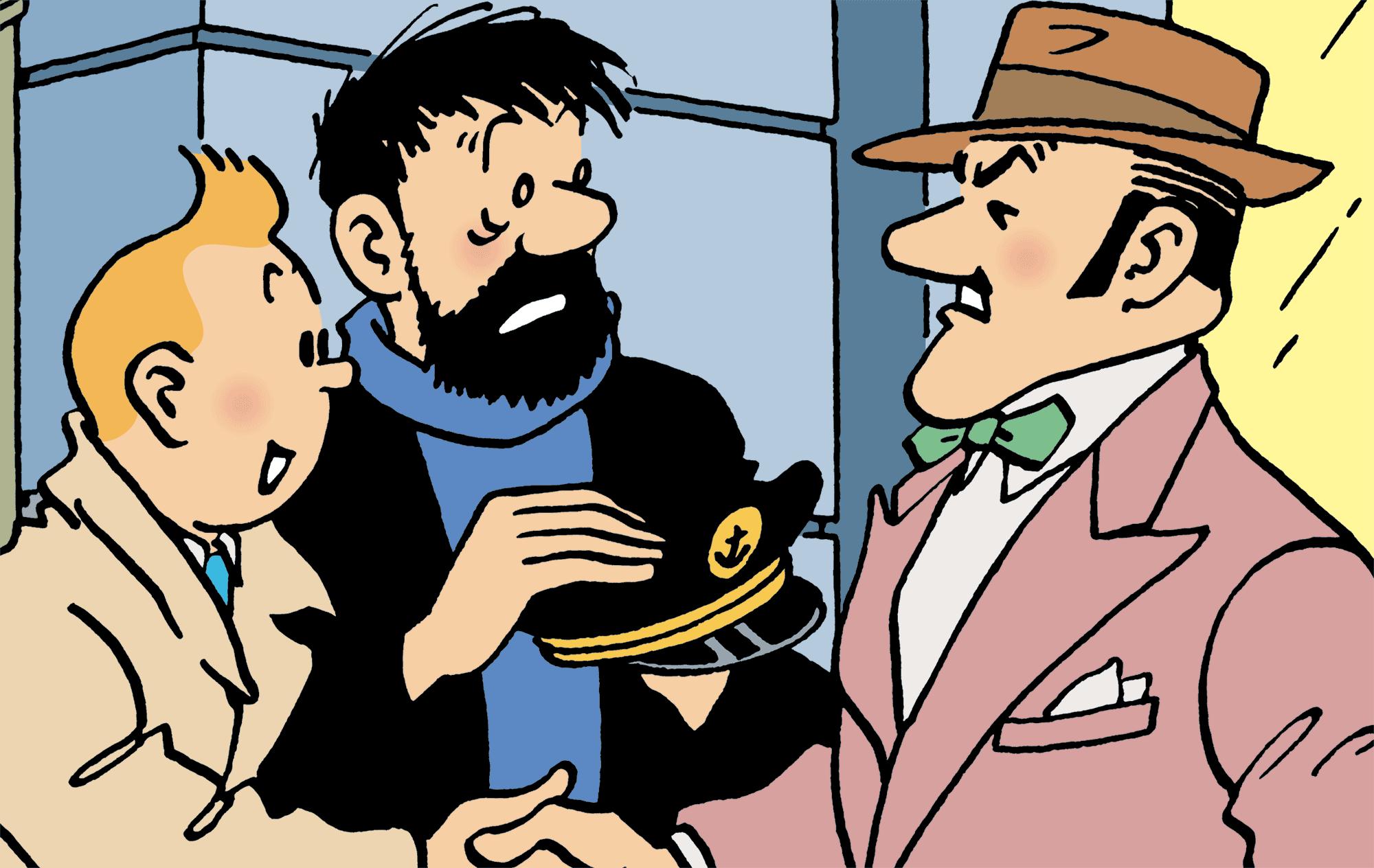 Tintin, Haddock et Alcazar dans Coke en Stock