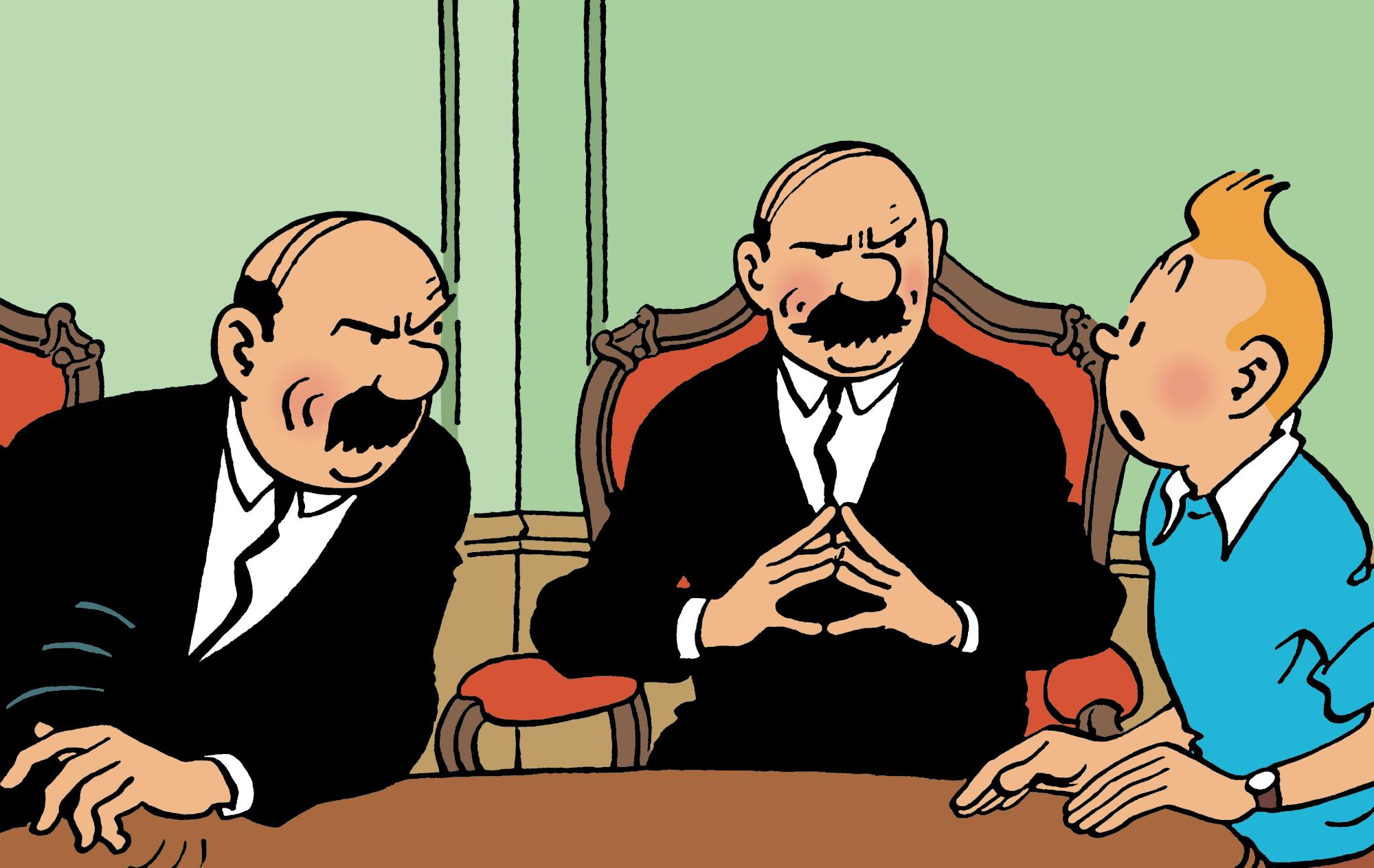 Les Dupondt interrogent Tintin dans Coke en Stock