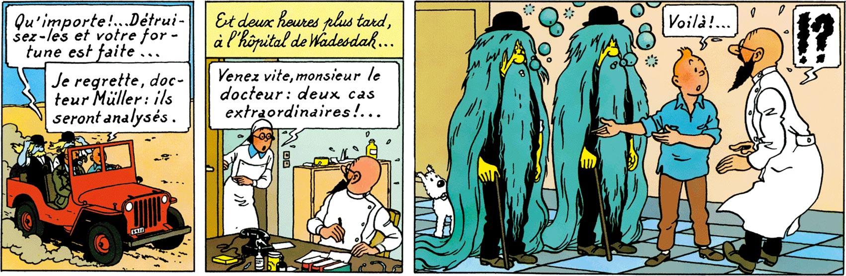 Dupondt, l'aspirine, les cheveux qui poussent - Tintin au pays de l'Or noir