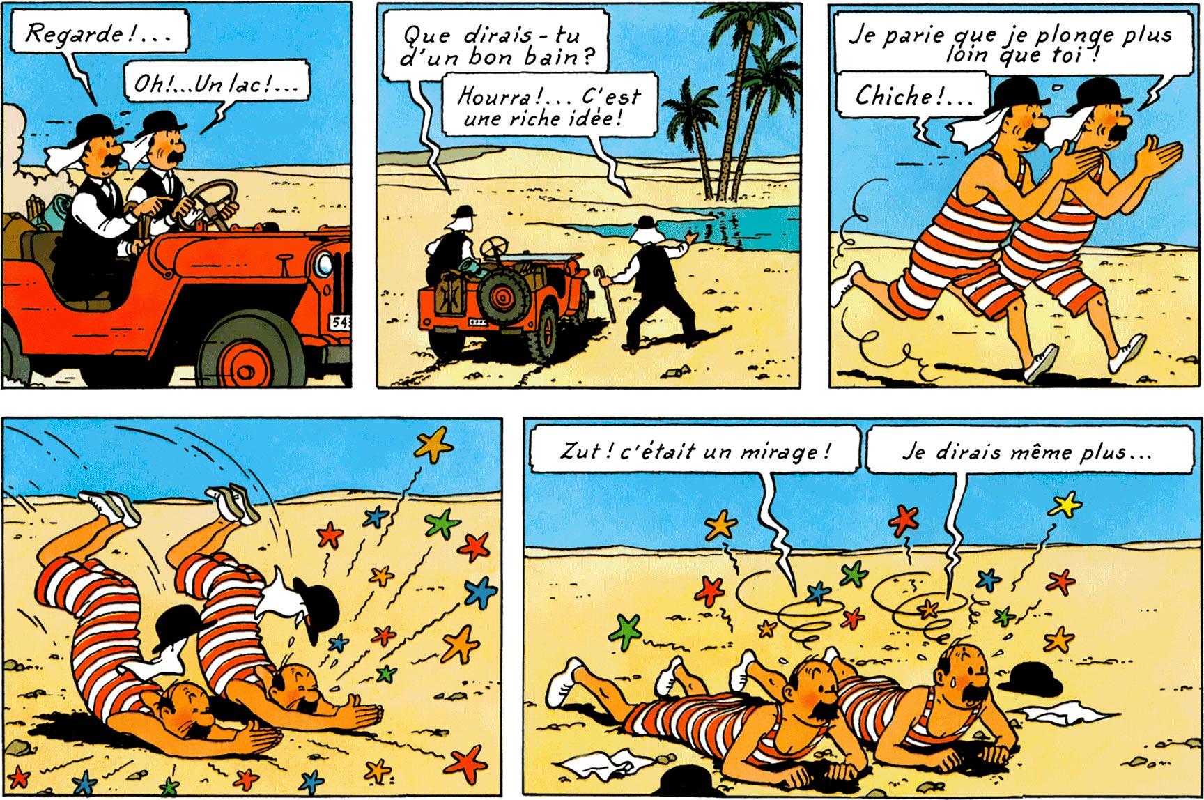 Dupondt baigneurs, mirage - Tintin au pays de l'Or noir