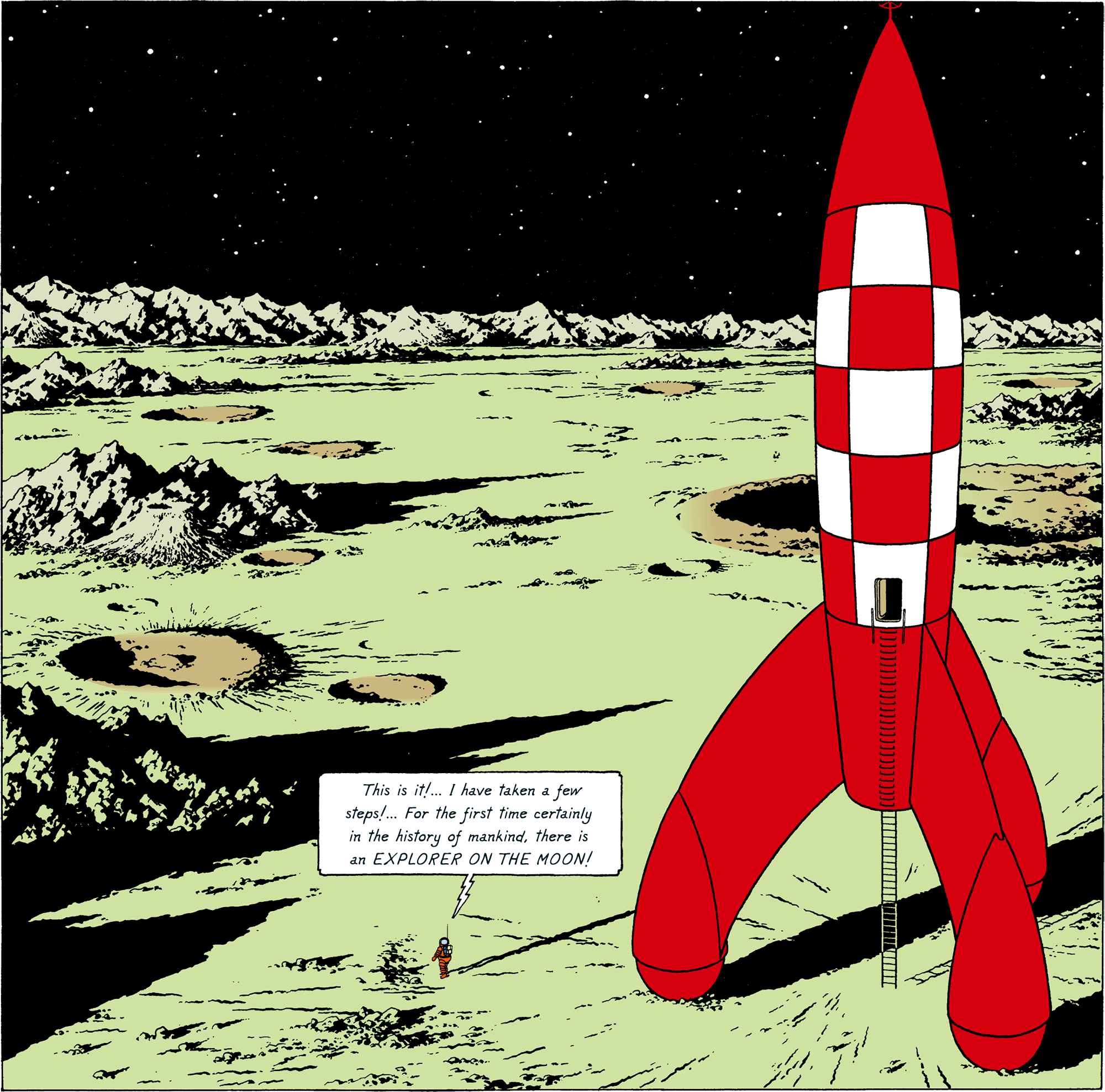 Explorers on the Moon - Tintin is walking on the Moon