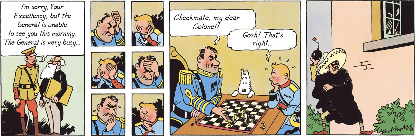 Alcazar is playing chess with Tintin in The Broken Ear