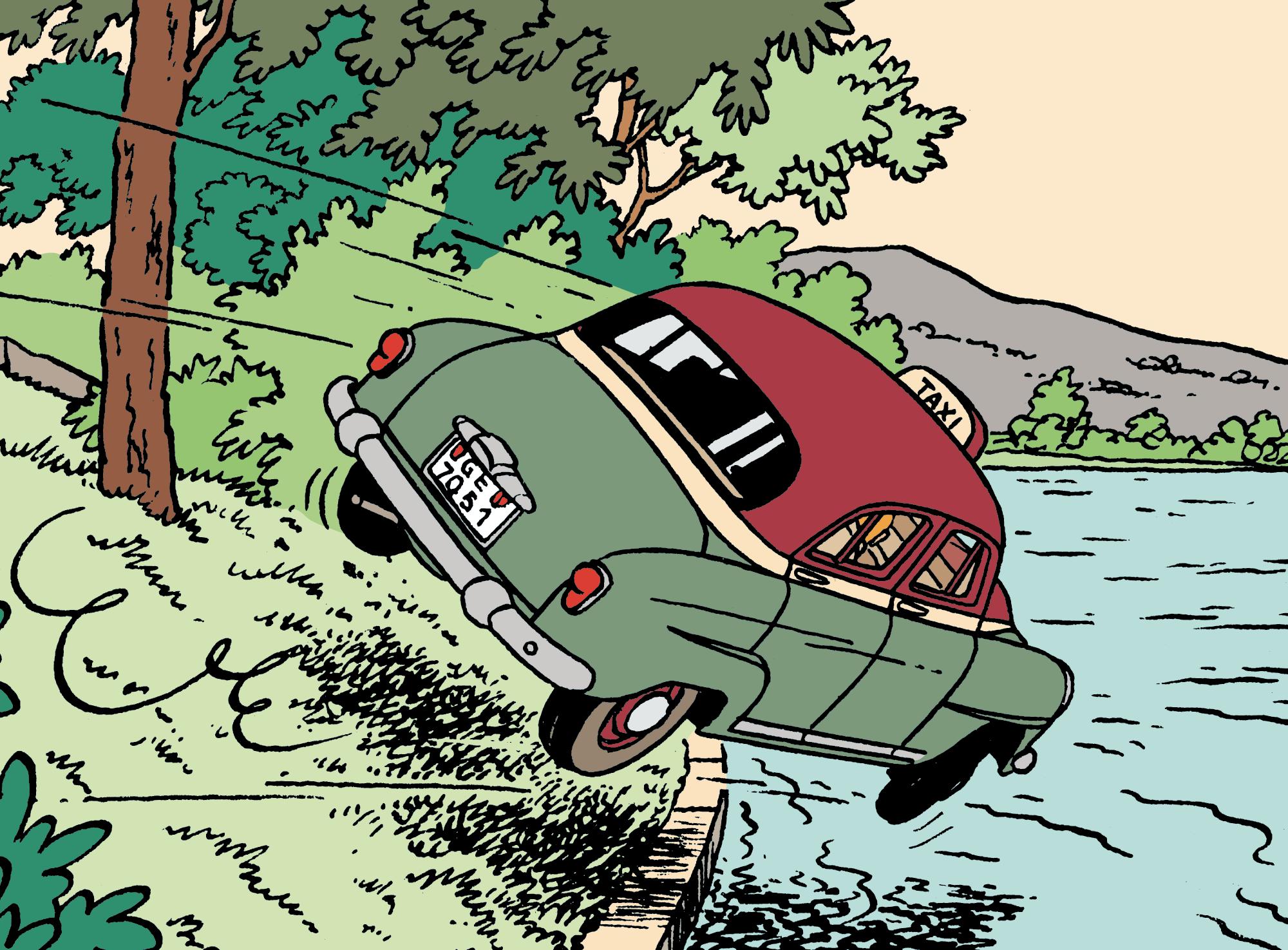 Le taxi dans l'eau dans L'Affaire Tournesol