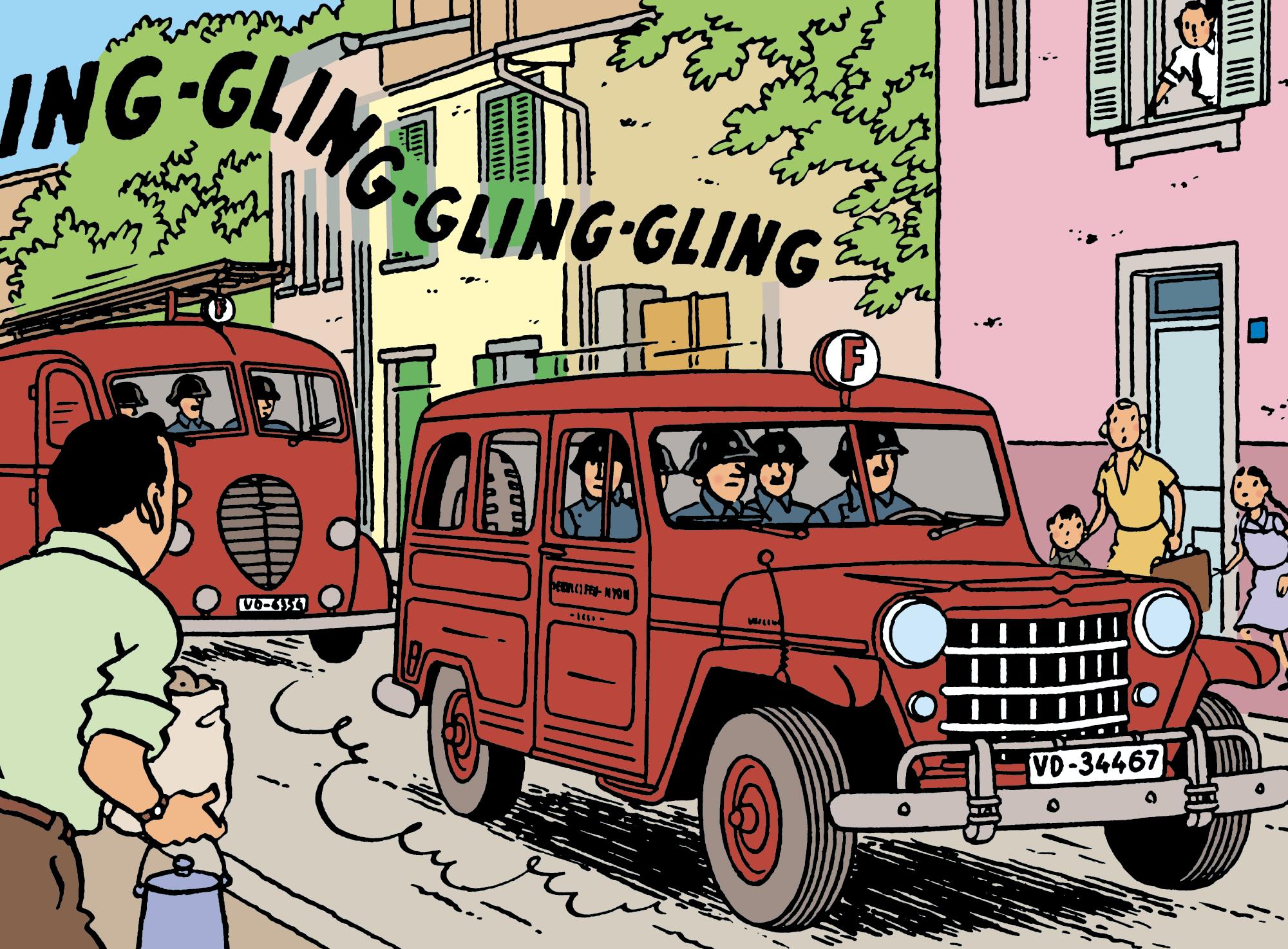 La voiture de pompier dans L'Affaire Tournesol