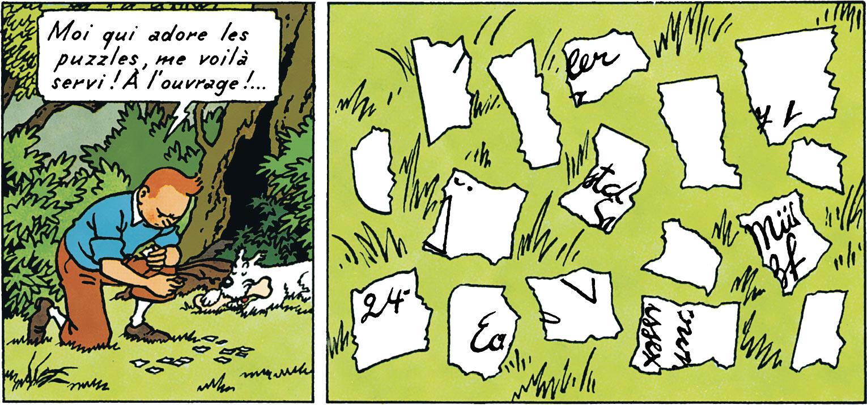 Tintin et le parchemin déchiré dans l'ile noire