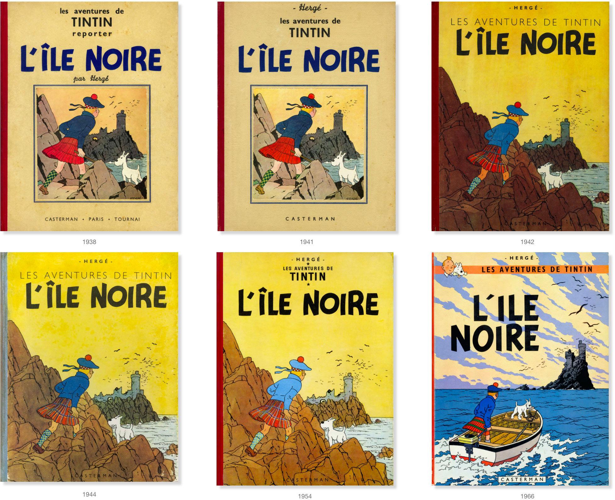 Couvertures Tintin de l'Ile noir de 1938 à 1966