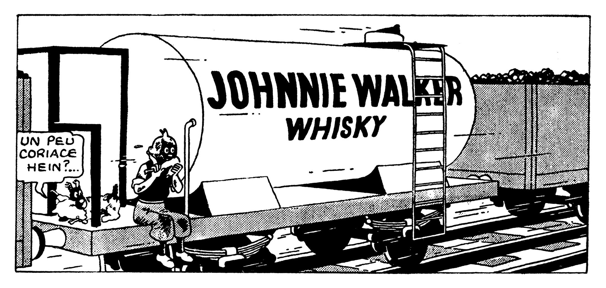 Ile noire Tintin sur le train Johnnie Walker Whisky