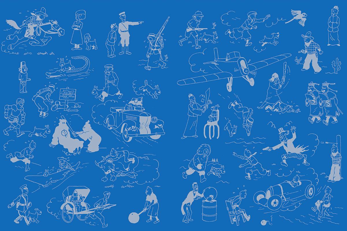 Tintin pages de gardes bleues