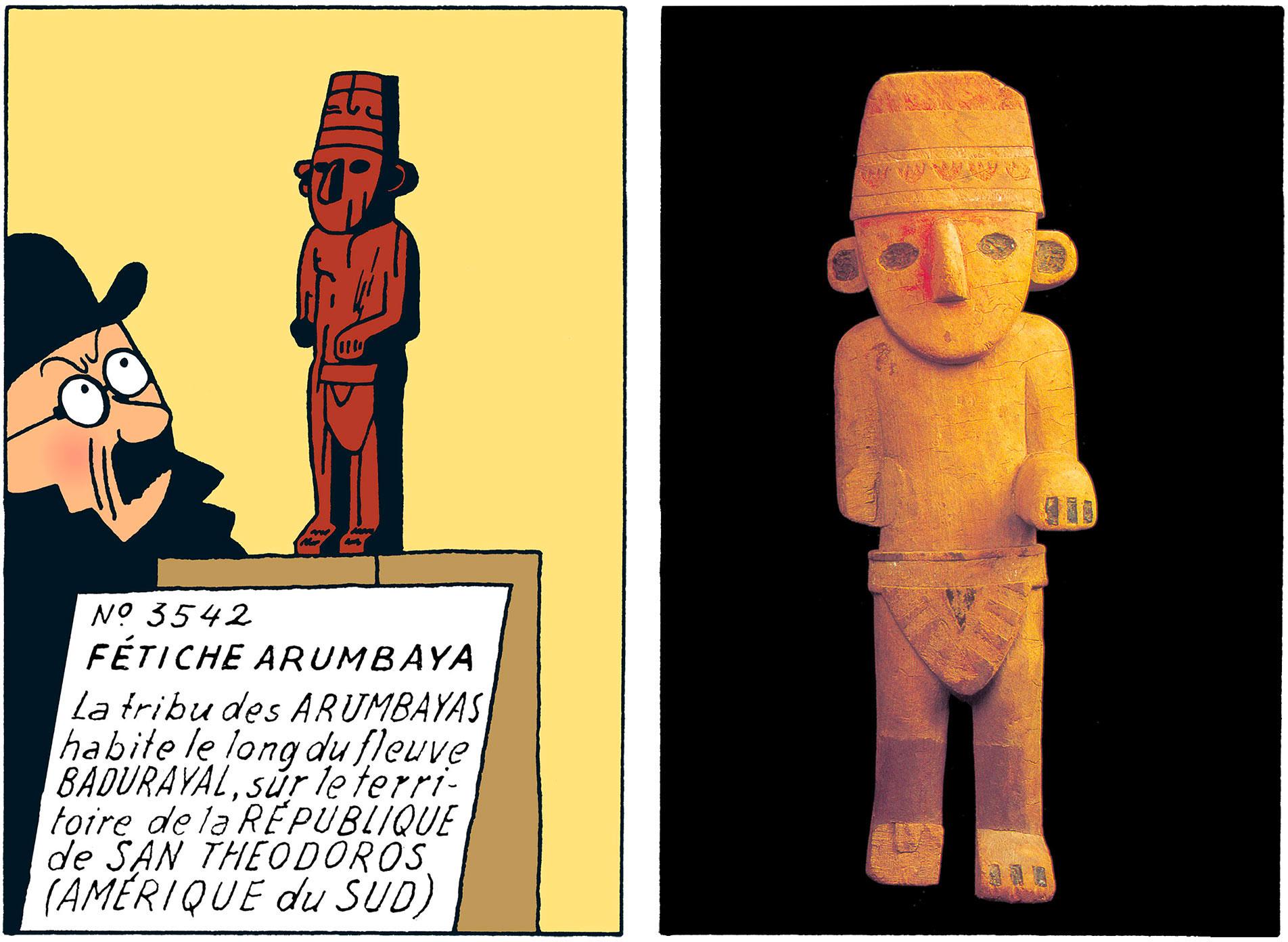 Le fétiche à l'oreille cassé arumbaya dans Tintin
