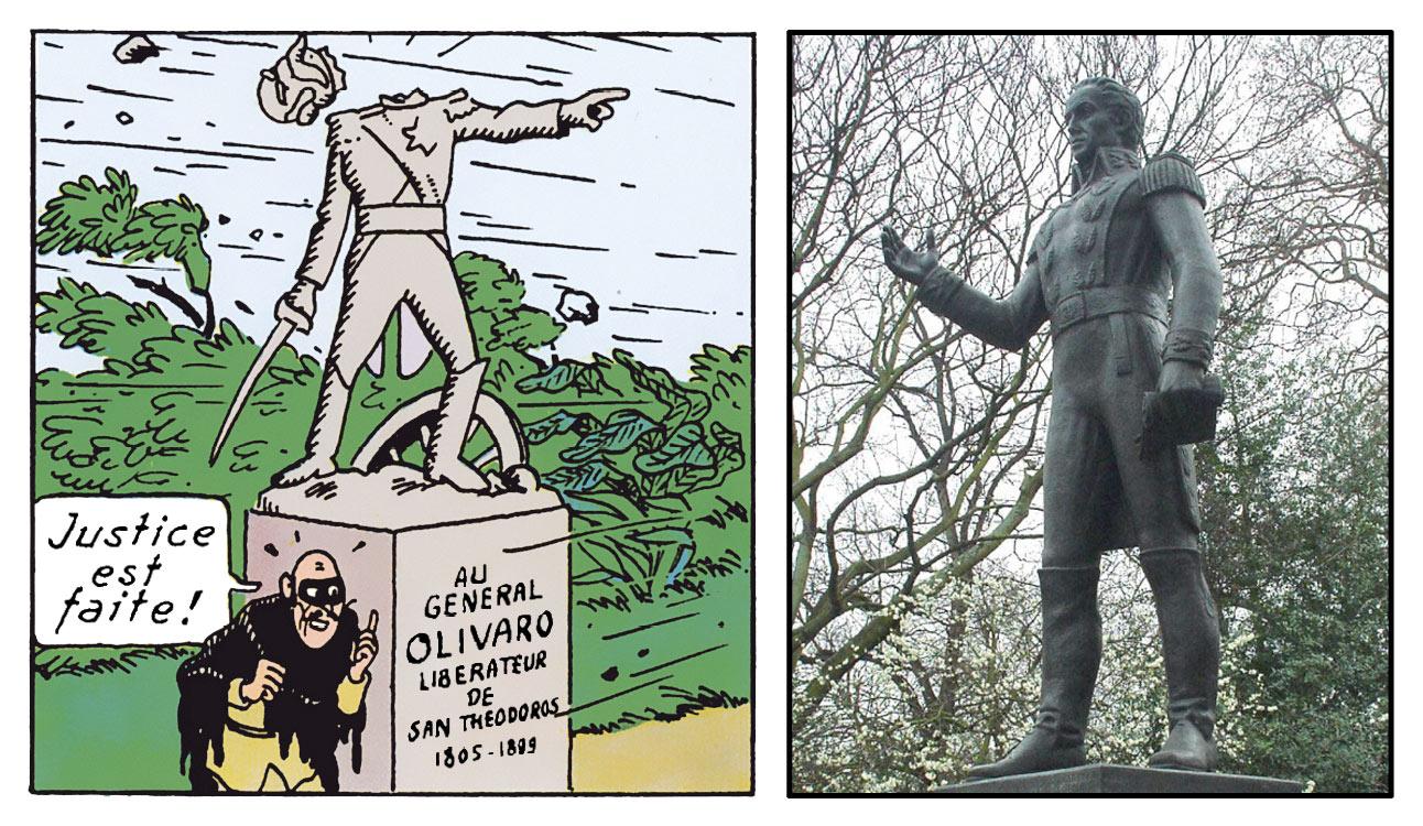 La statue décapitée du général Olivaro dans l'Oreille cassé