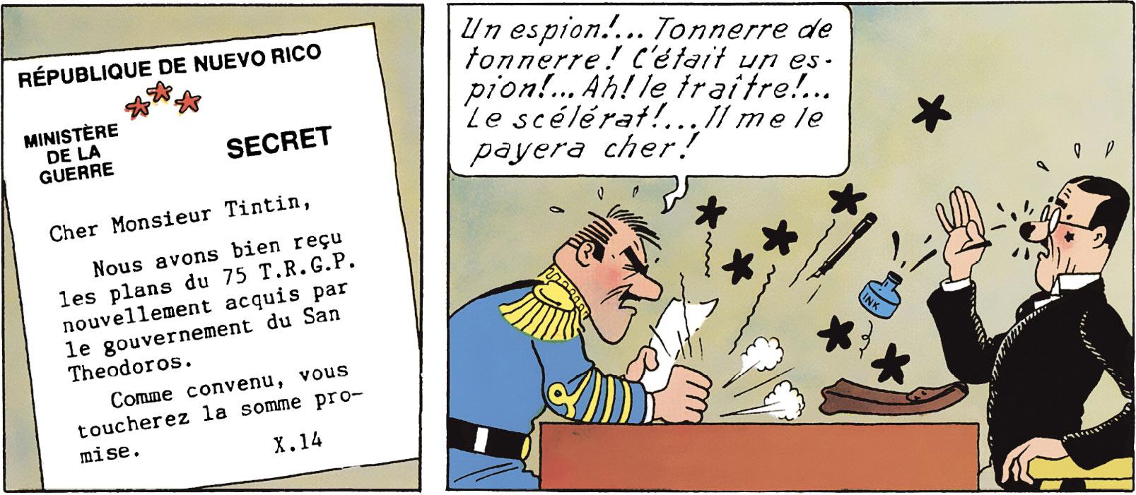 Le général Alcazar pense que Tintin est un espion