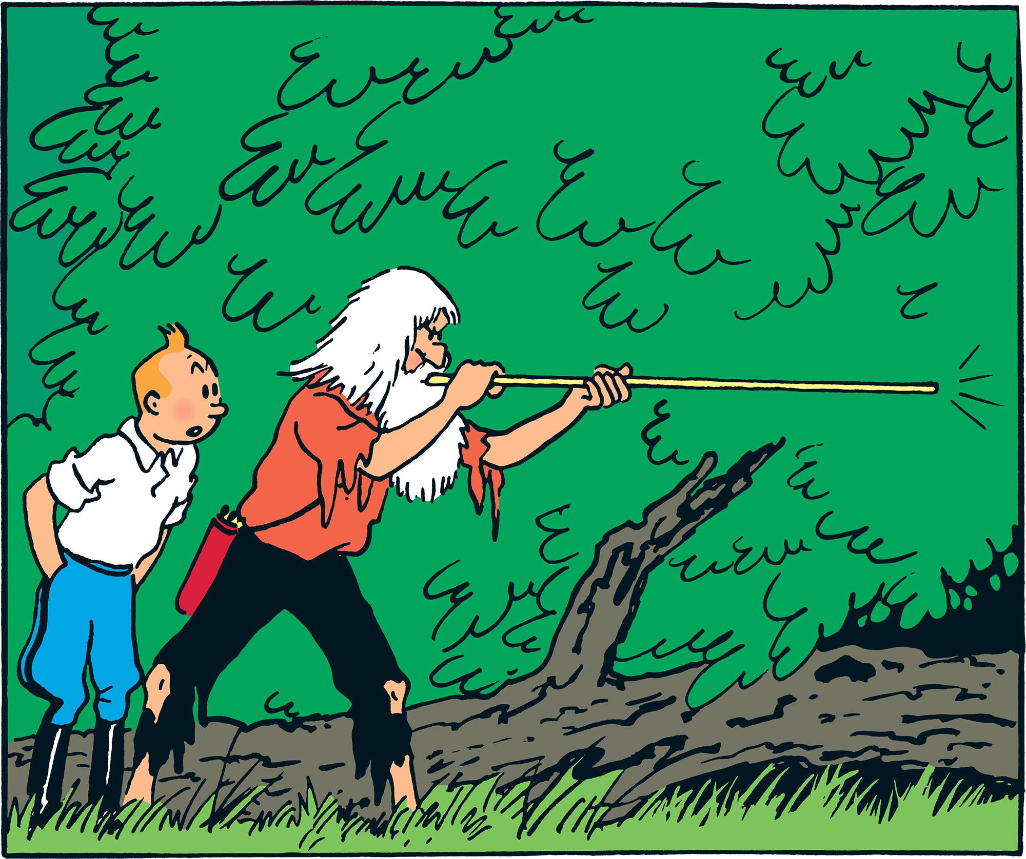 Tintin et Ridgewell dans l'Oreille cassée
