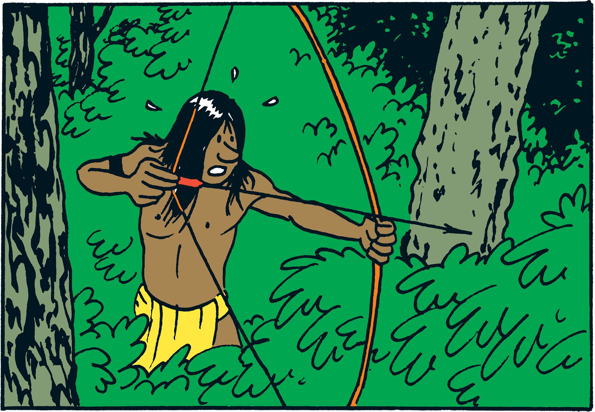 Illustration d'un Jivaros dans Tintin L'oreille cassée