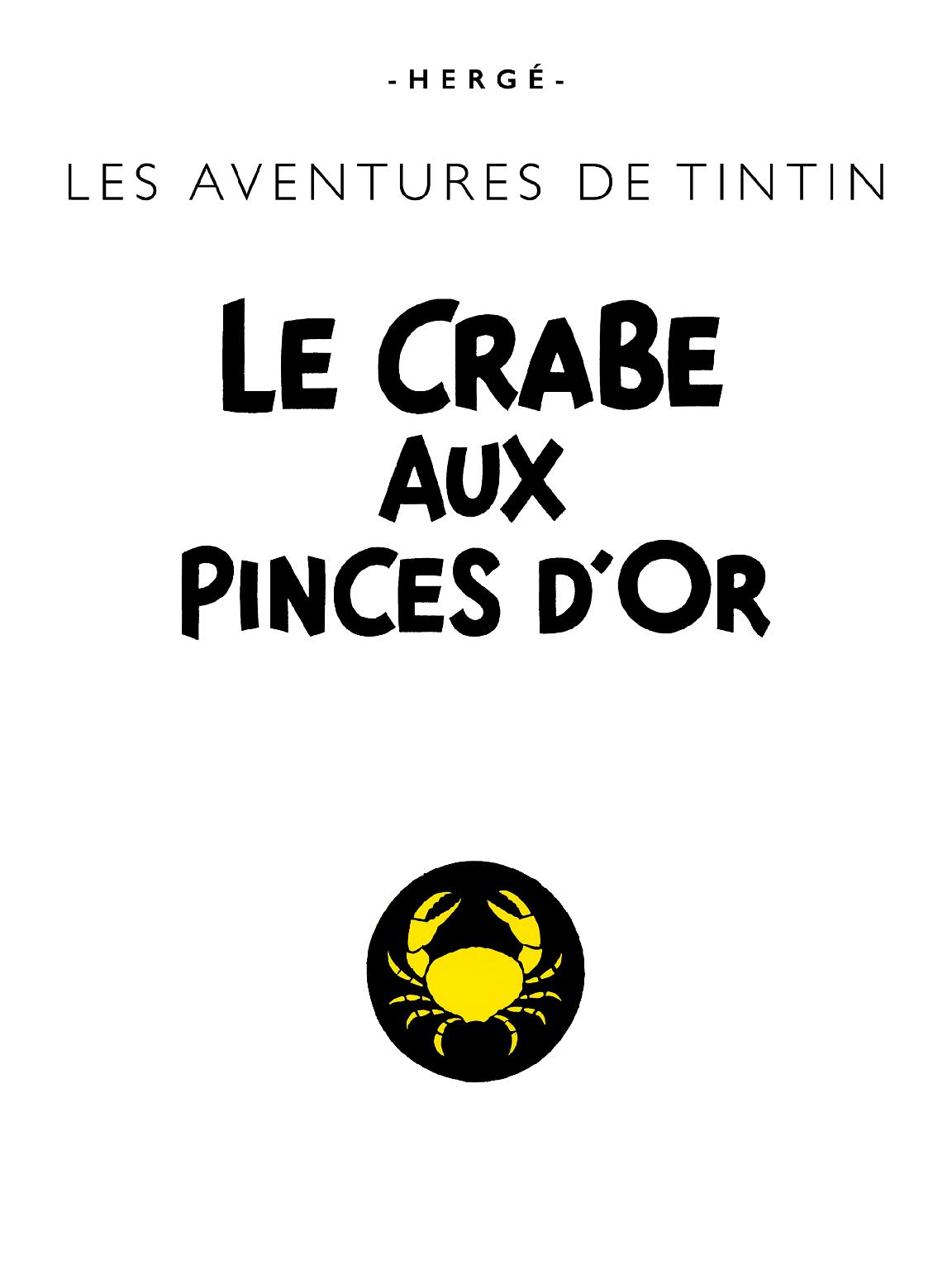 Le Crabe aux pinces d'or - page titre