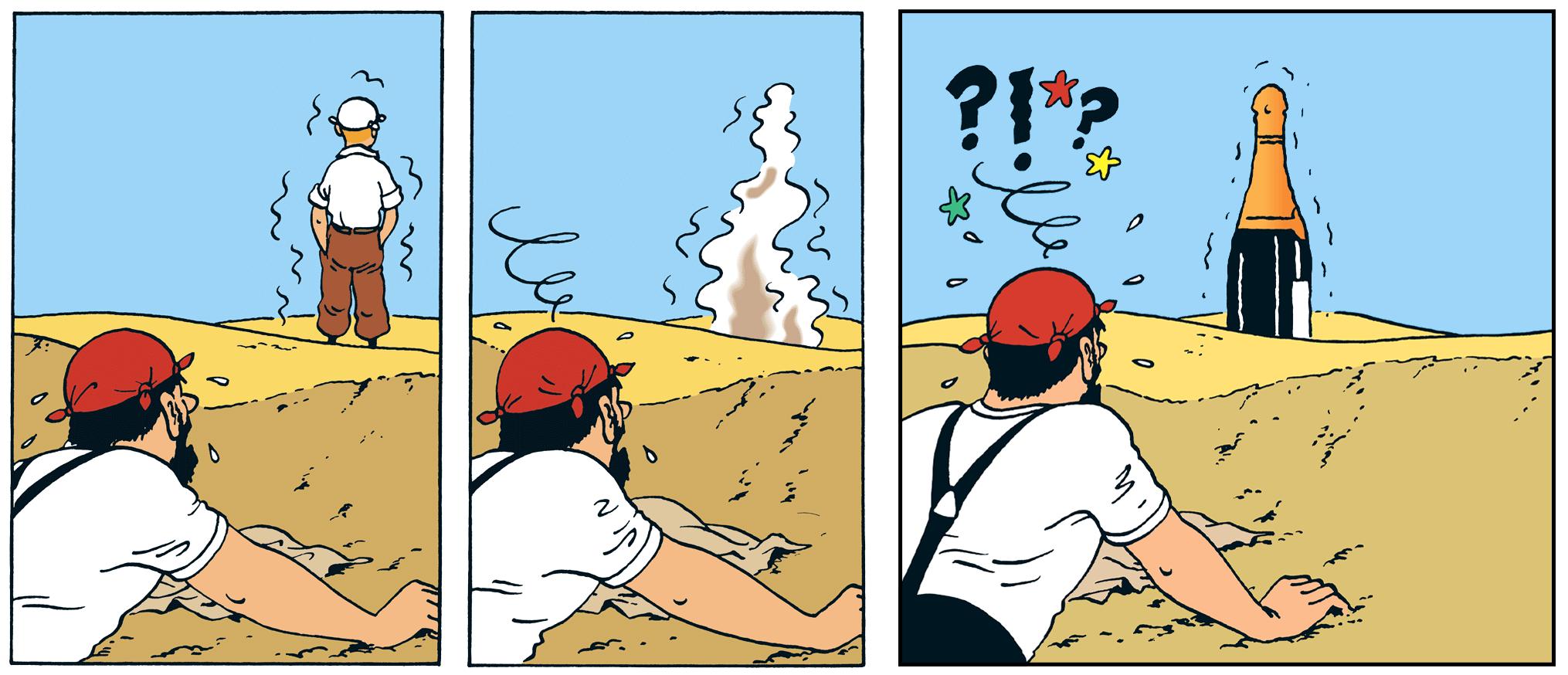 Le Capitaine Haddock hallucine et prend Tintin pour une bouteille de champagne dans le crabe aux pinces d'or