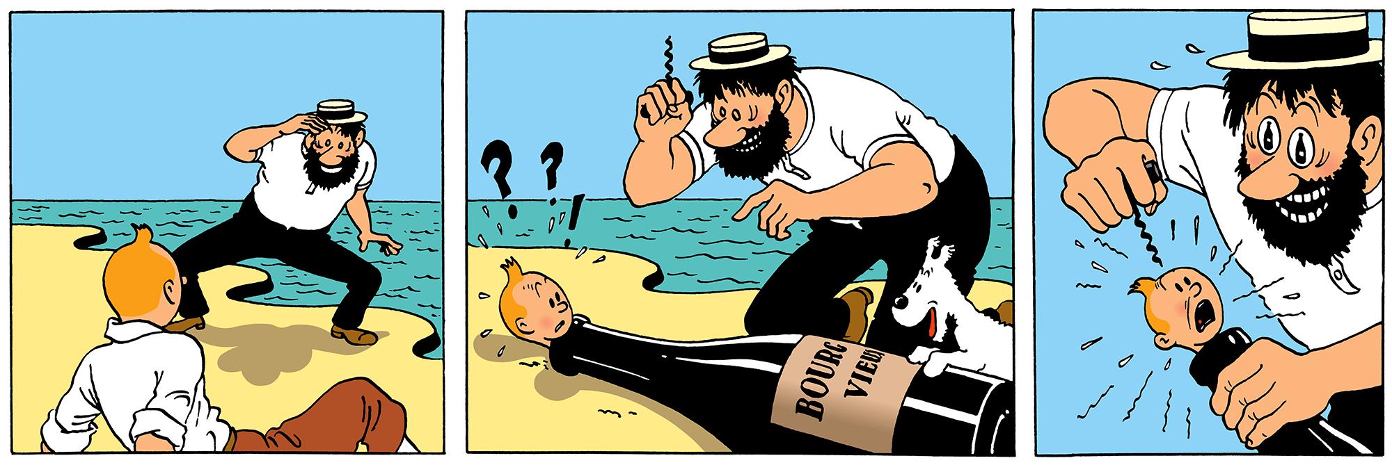 Le Capitaine Haddock hallucine et prend Tintin pour une bouteille de vin dans le crabe aux pinces d'or