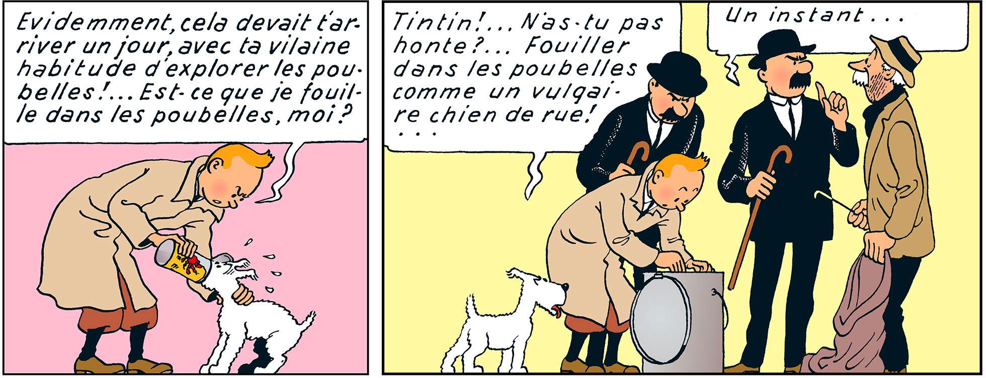 Tintin retire la boite de crabe du museau de Milou dans le crabe aux pinces d'or