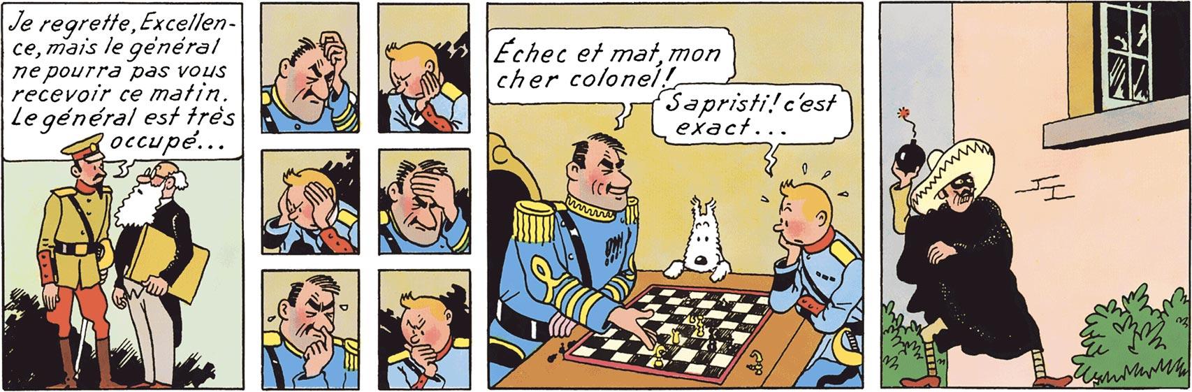 Alcazar joue aux échecs dans L'Oreille cassée