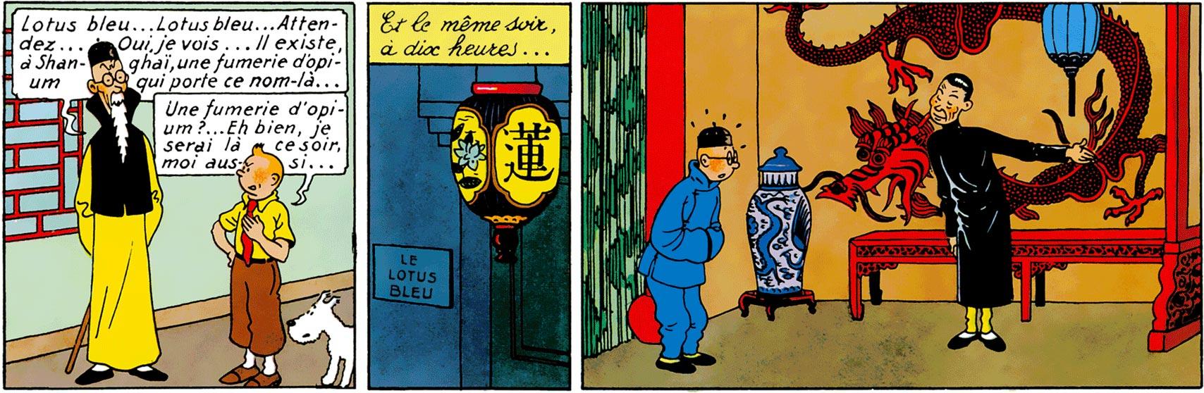 Le Lotus bleu Tintin en costume bleu