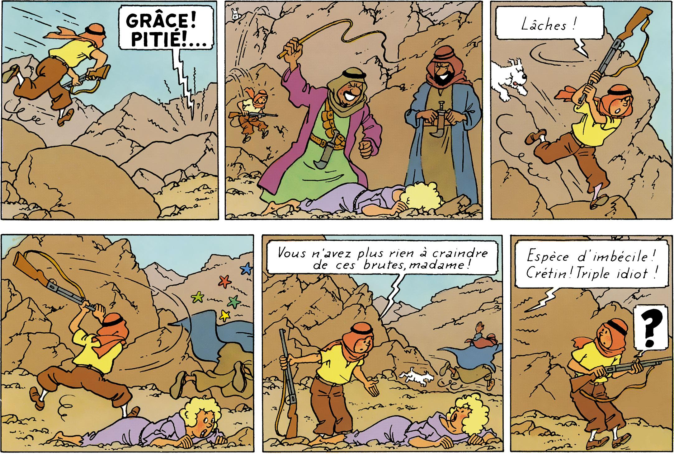 Tintin interrompt une scène de cinéma dans les Cigares du Pharaon