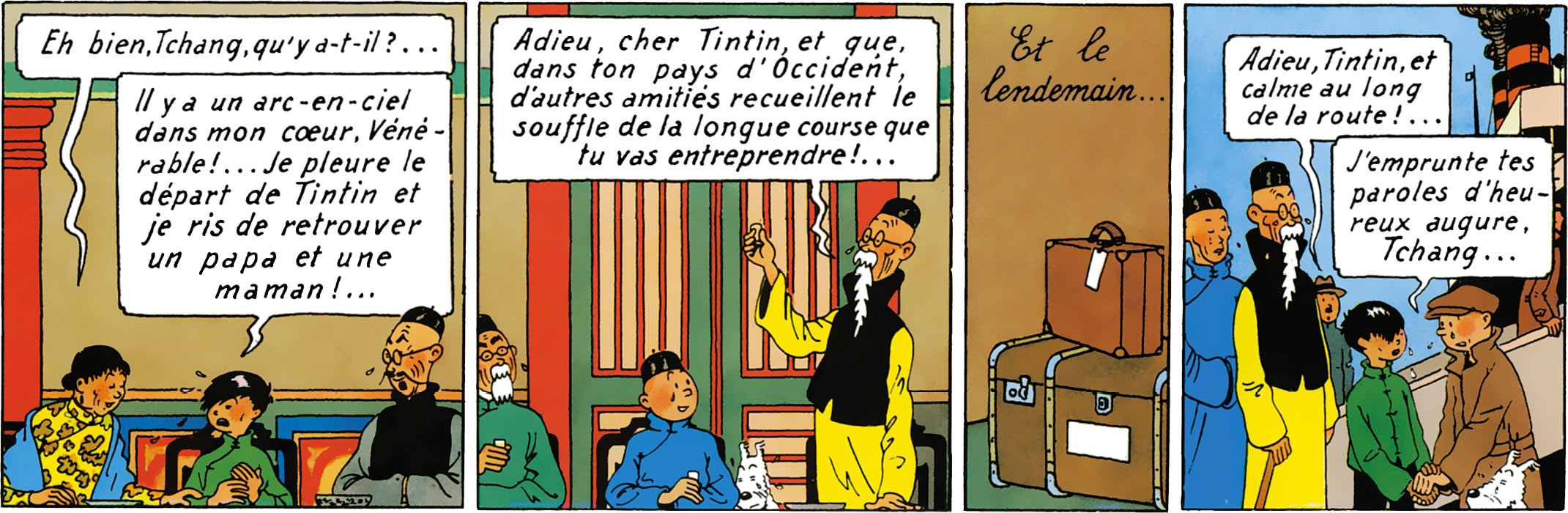 Fin du Lotus bleu Tintin dit au revoir à Tchang