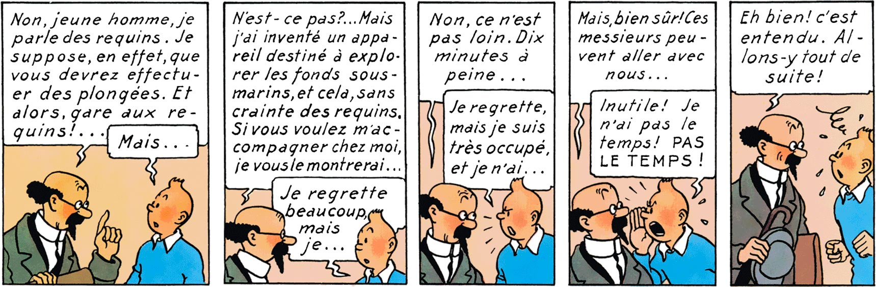 Tintin et Tournesol dans Le Trésor de Rackham le Rouge