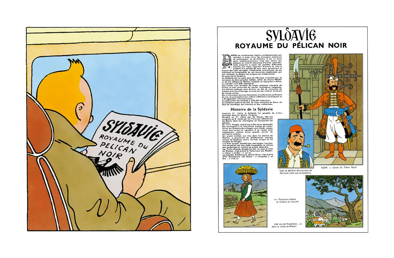 Tintin le le journal de la syldavie royaume du pélican noir dans le Sceptre d'Ottokar