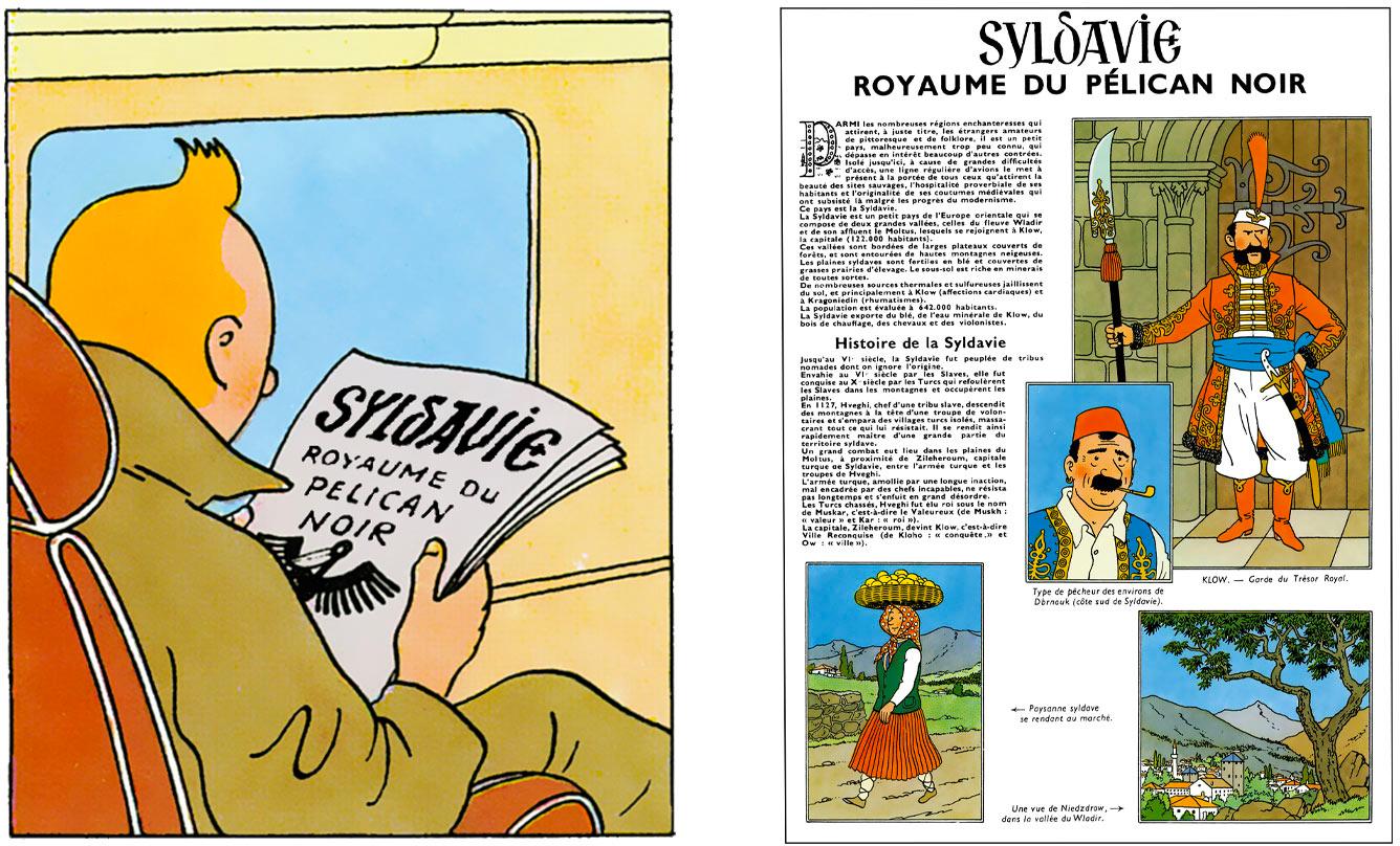 Tintin lit le journal de la Syldavie royaume du pélican noir dans le Sceptre d'Ottokar par Hergé