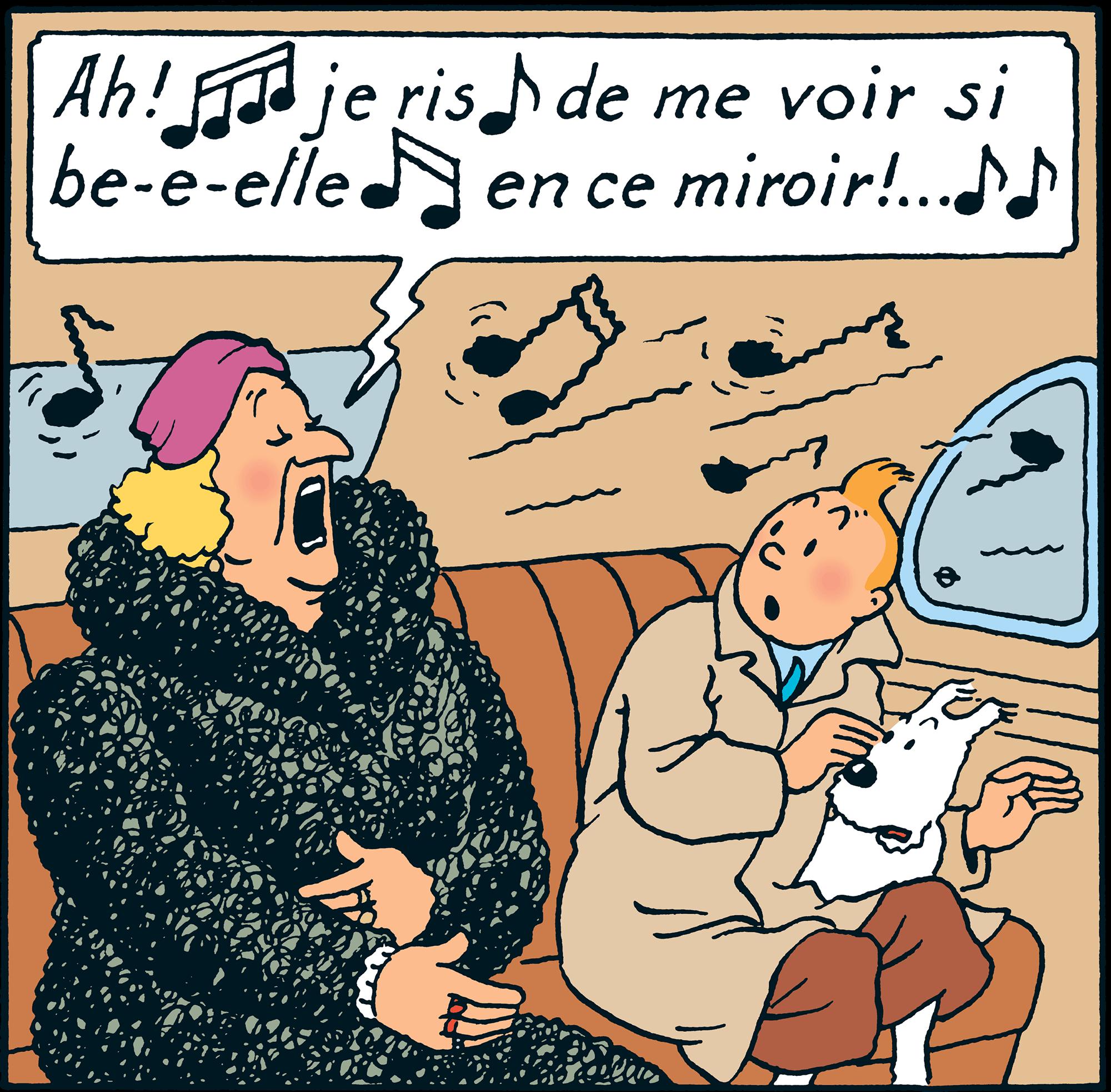 Tintin dans la voiture avec Bianca Castafiore dans le Sceptre d'Ottokar