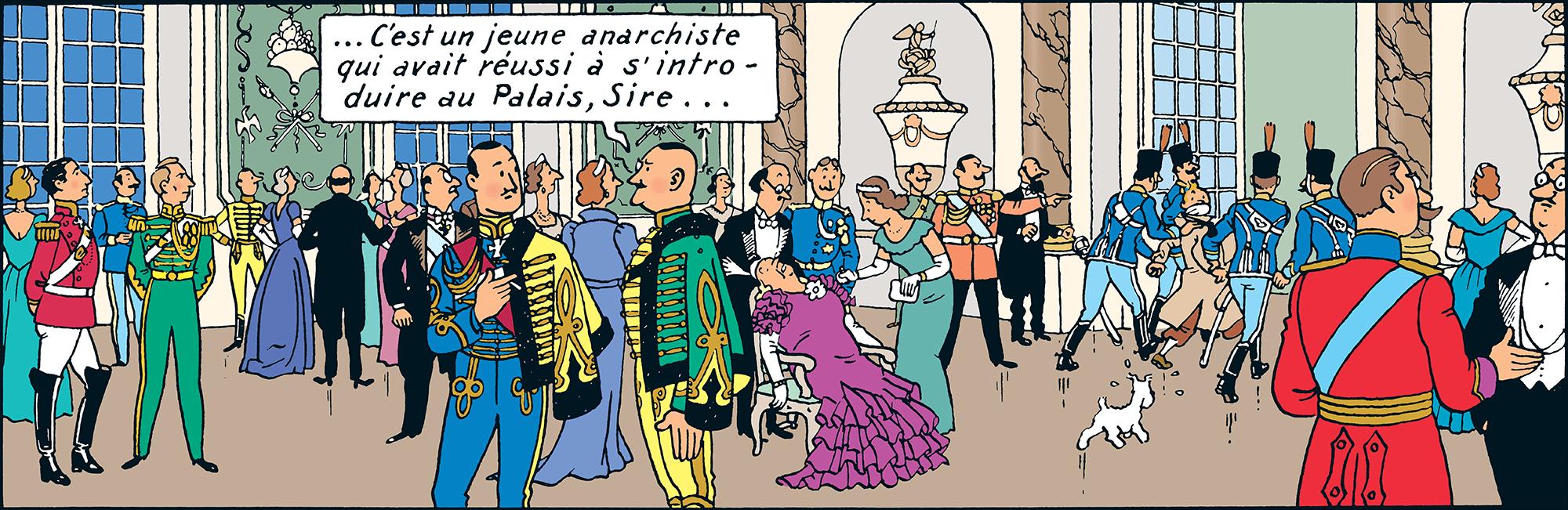 Hergé se dessine dans le Sceptre d'Ottokar - Tintn est mis dehors comme s'il était anarchiste