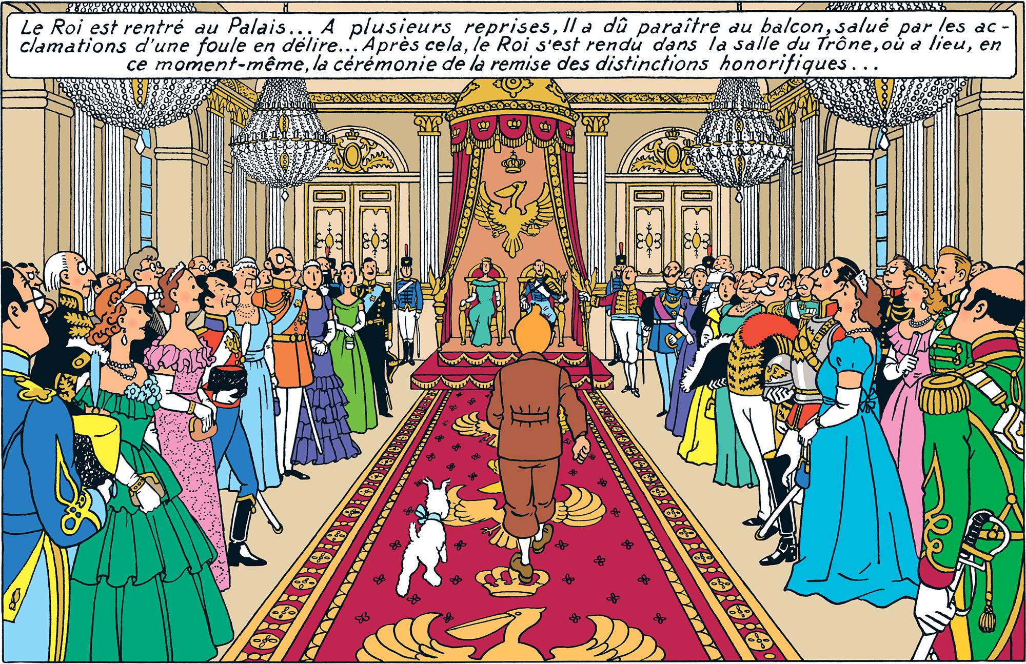 Tintin reçu dans la salle du trône par le Roi Muskar XII dans le Sceptre d'Ottokar