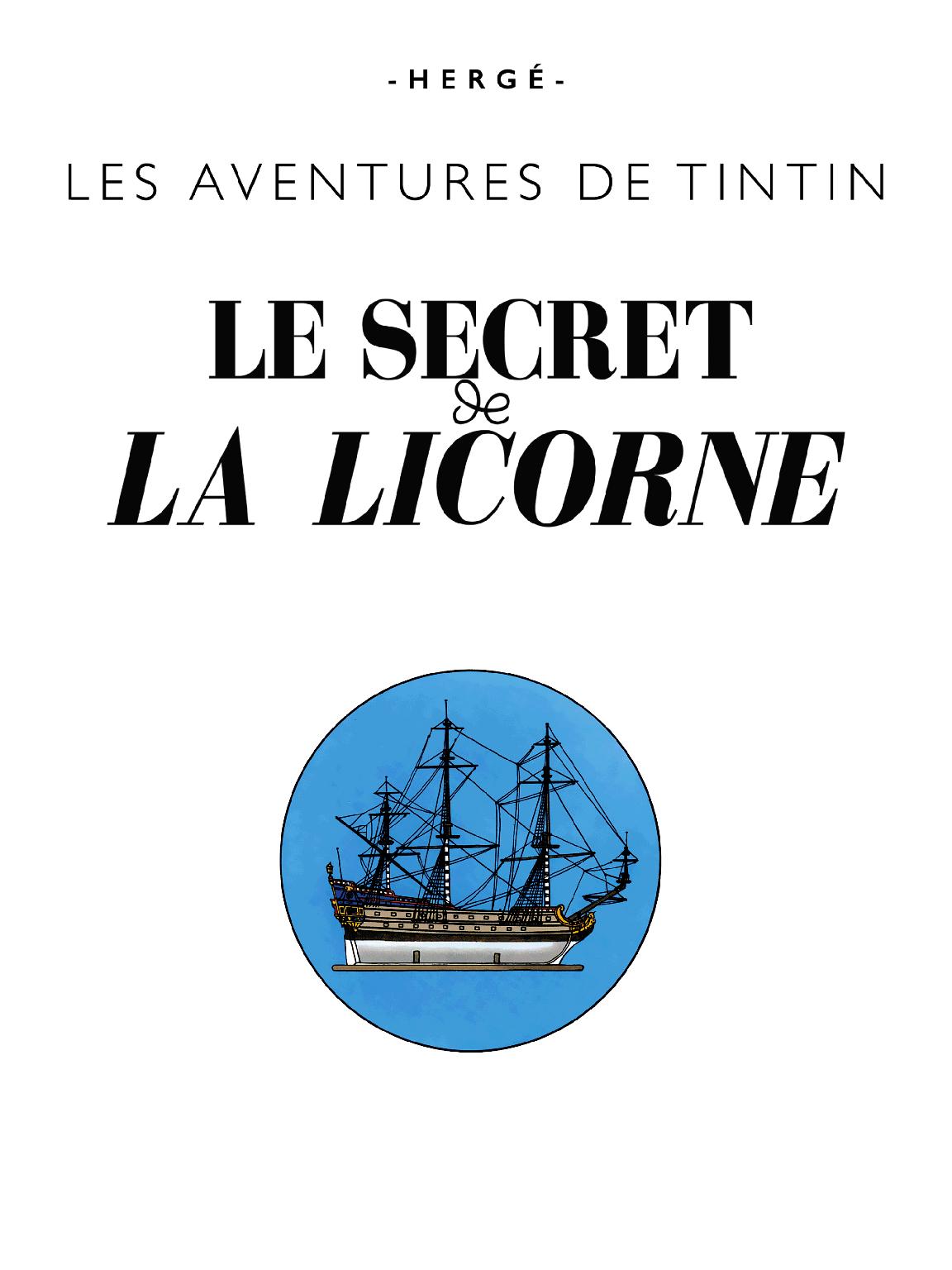 Le Secret de La Licorne - page titre