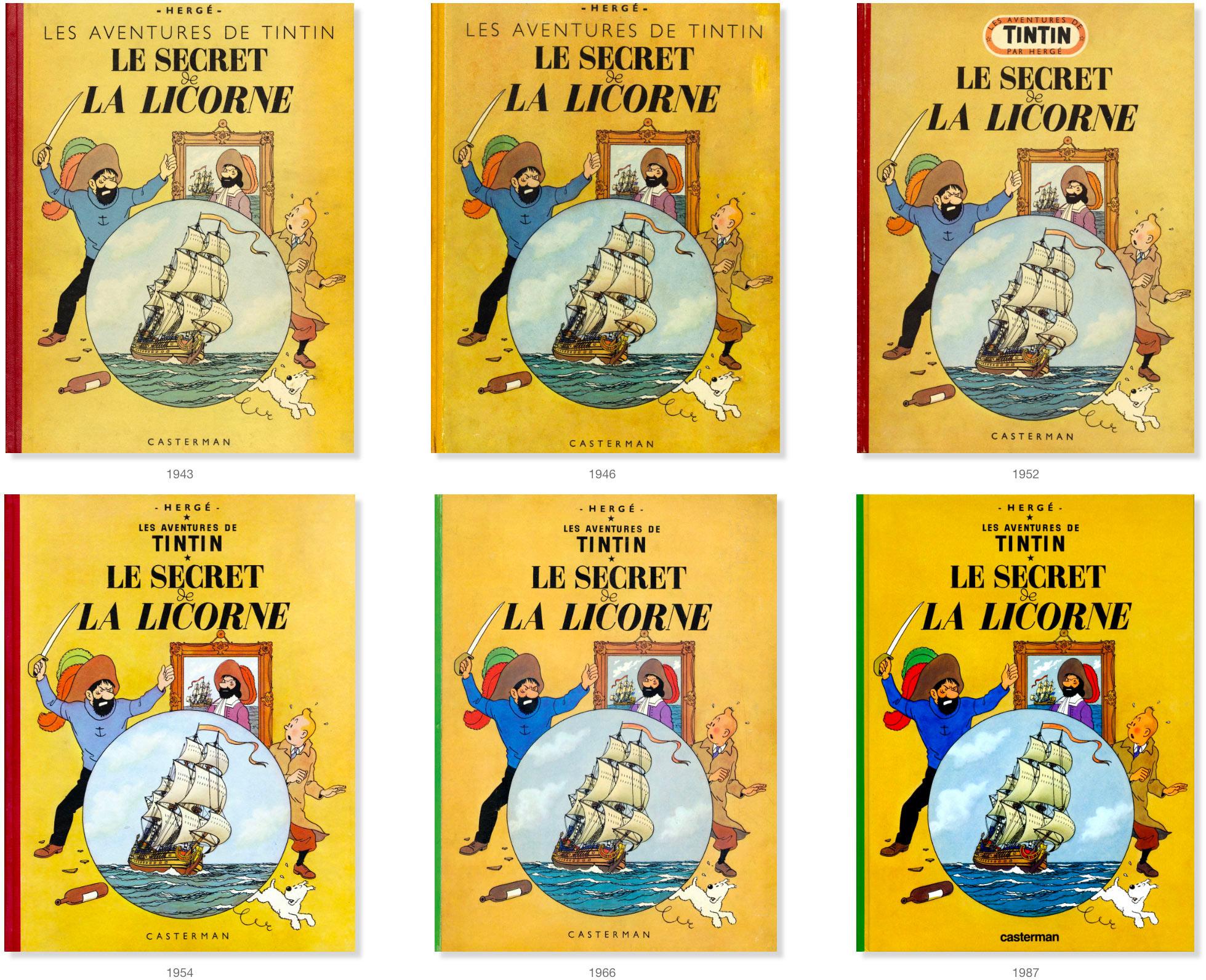 Les couvertures Le Secret de La Licorne de 1943 à 1987