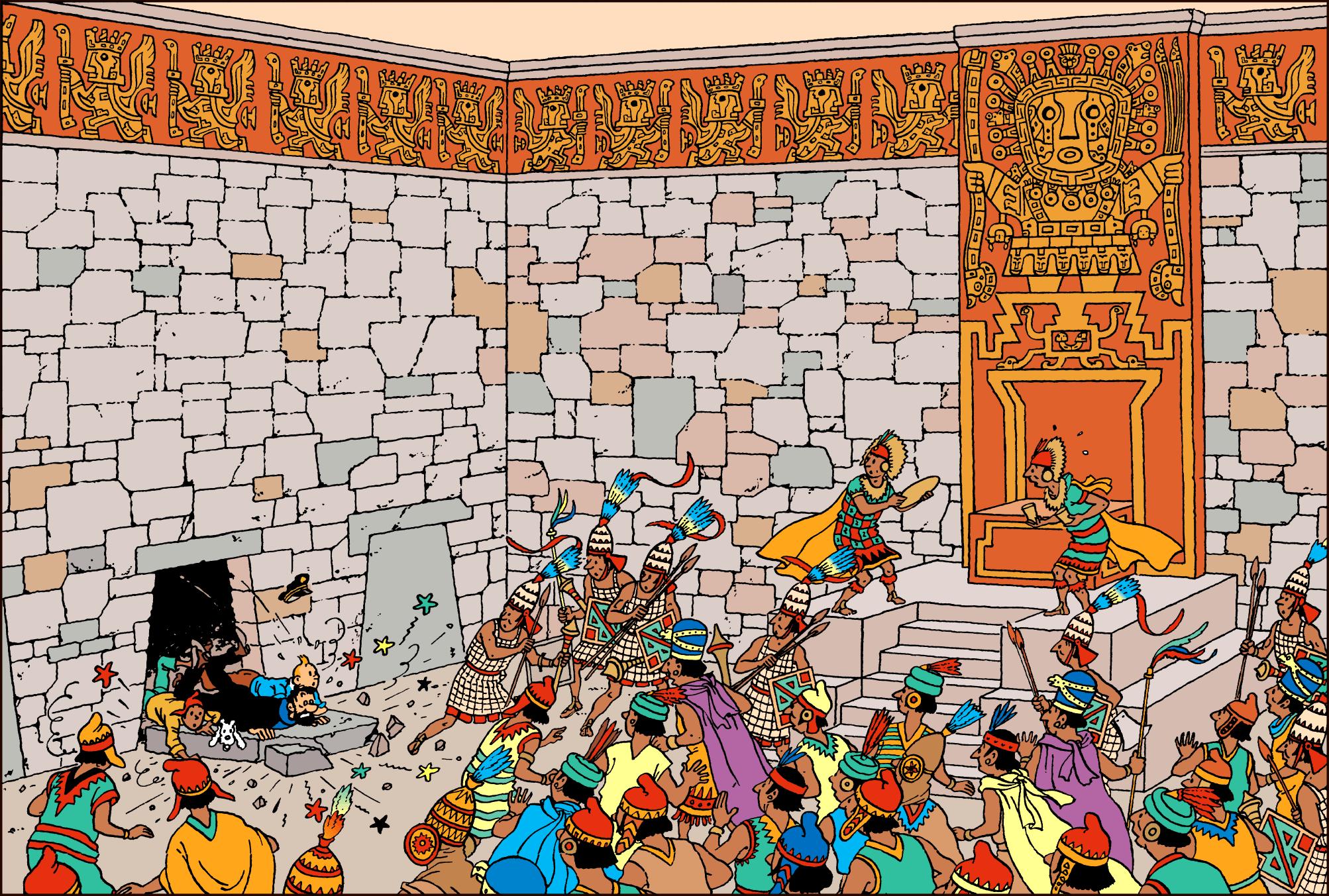 Le Temple du Soleil, intérieur du Temple Dieu aux batons