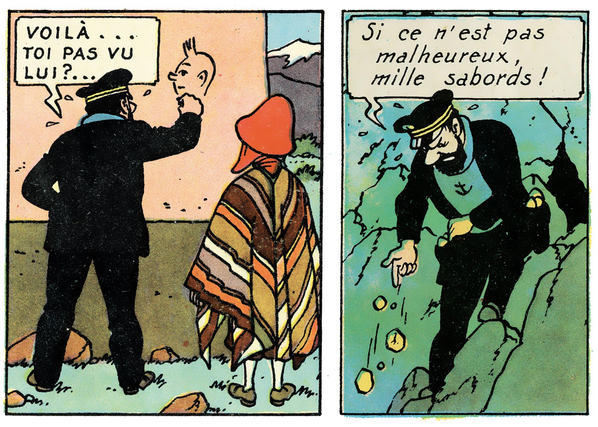 Haddock dessine Tintin dans Le Temple du Soleil