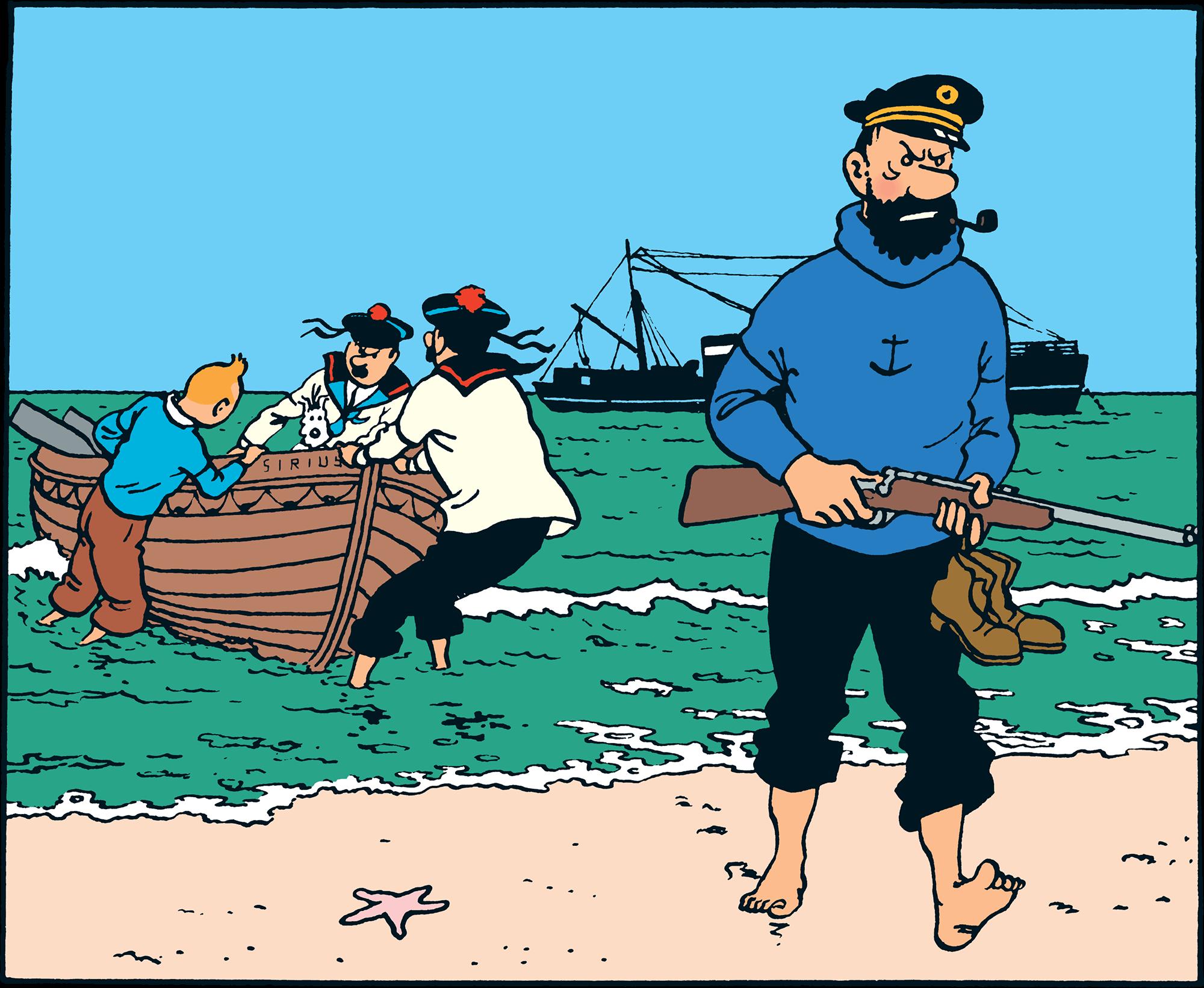 Le Trésor de Rackham Le Rouge, Haddock débarque sur la plage