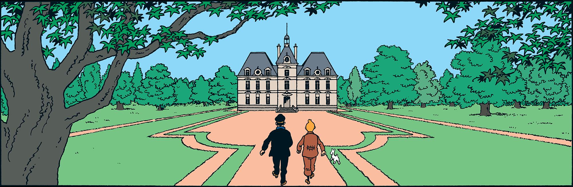 Tintin et Haddock devant Le Chateau de Moulinsart la résidence du capitaine Haddock dans Le Trésor de Rackham le Rouge -